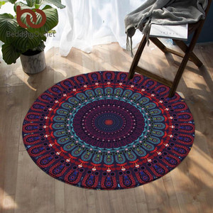 Salon Mor Mavi Kırmızı Emici Taban Rug için BeddingOutlet Mandala Yatak halılar Bohemian Yuvarlak Alan Kilim Mat 150cm oyna