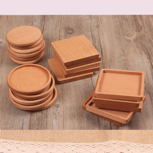 Free DHL Wooden Coaster Beech Wood Coaster Insulation Pad Creative Tea Mug Coffee Cup Mat Kitchen Home Tool Custom Logo Best Gift M913F