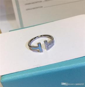 anneau T BLEU T double design de luxe femmes bijoux 925 bagues en argent sterling bague en diamant de mariage dame bague TIF marque boîte originale