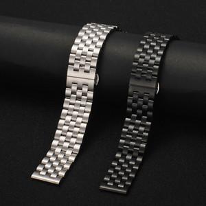 FUYIJIA Cinq-Perle solide givrée en acier inoxydable Bracelet 18mm ~ 26mm Boucle papillon watchbands hommes femmes accessoires montre de la ceinture