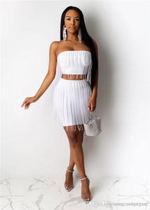 Womens Sexy Tassel 2pcs Dresses Night Club Solid Color Tube Top Sexy Summer Style Female Clothing Casual Apparel