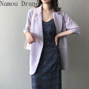 2020 Verano Coreano Causal Traje Jacket Double Breasted Mal Mayor Blazer Coat Modeled Cuello Solid Bazers Outwear Damas Abrigos