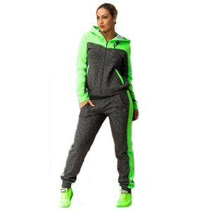 Women Two Piece Set Tracksuits Top and Pants Color Patchwork Hoodies Sweatshirts Coat Sportwear Long Sleeve Sporting Suit Female Costume