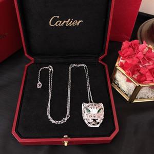 2019 Mais Recente Modelo Medalhão Pingente Colares Para As Mulheres Charme Moda Cheio de diamantes cabeça de leopardo designis