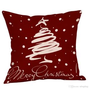 Merry Christmas Throw Pillowcase Santa Claus Tree Deer Cushion Covers Happy New Year Home Decor Pillow Case 2018 Xmas DH0205