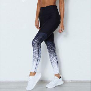Pantalons femme sport entraînement exercice pantalon pantalon Gradient couleur Push Up leggings bande élastique Sweatpants