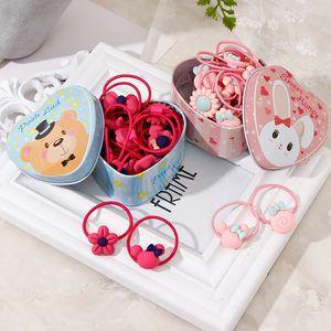 20pcs Lot New Gift Box Packed Girls Cute Cartoon Elastic Hair Bands Headwear Scrunchies Rubber Bands Headbands Hair Accessories