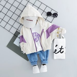 Kid Toddler Boy Girl 3PCS Hooded Jeans Clothing Sets Fashion Patchwork Baby Boy Coat + T Shirt + Pants 1 2 3 4Y