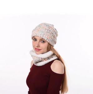 Громоздкая Вязаная шапочка Hat шарф Set 4 Стилей лыжной шапочки Зима сгущает плюш выровняли шеи грелки 2pcs / комплект O-LJJO7198