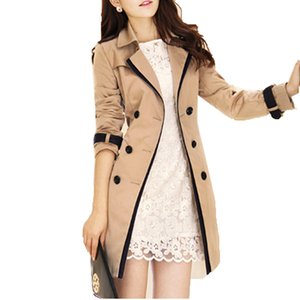 OLN Mulheres Trench Coat Turn-down Collar Double Breasted Casaco Longo Plus Size Roupas Femininas Blusão Feminino HQB53
