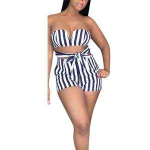 Womail Moda Confortável Mulheres Sexy Fora Do Ombro Listrado Sem Mangas Spaghetti Frente Tie Shorts Macacões M300111