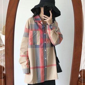 Qiukichonson Coreano Moda Plus Size Mulheres Camisa Longa 2019 Primavera Design de Bolso Do Vintage Das Senhoras Xadrez de Manga Longa Blusa femme
