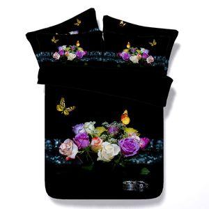 3d flores de mariposa lilycolors rose full / queen / super king size funda nórdica set 100% ropa de cama de algodón sin relleno envío gratis