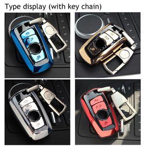 Titulaire de couverture de cas de clé de voiture ABS automatique avec porte-clés porte-clés boucle de la chaîne porte-clés pour BMW F07 F10 F11 F20