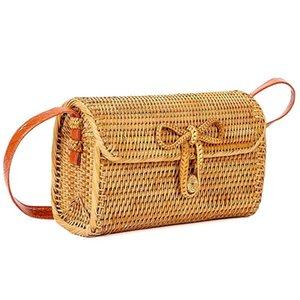 Дизайнер-сумка Новая мода сумка 2019 Женщины Бали Rattan Woven Crossbody сумка лето Tote с Bow Застежка сумки Dropship May9