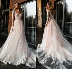 2019 Blush Pink Boho Vestidos de novia Cuello en V Manga larga Playa Vestidos de novia bohemios de tren de barrido Vestidos De Noiva