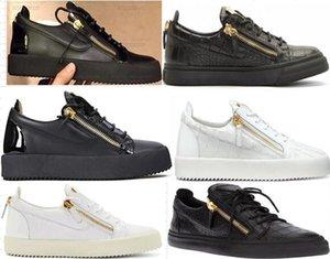 Giuseppe Zanotti GZ shoes Fashion Designer Sneaker Homens Mulheres Arena calçados casuais Genuine Zipper Raça Runner sapatos ao ar livre Trainers com caixa grande tamanho 35-45