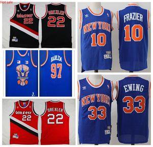 Patrick Ewing New YorkKnicksMen Clyde 22 Drexler PortlandTrailBlazersMen Mitchell & Ness Swingman Basketball Jersey