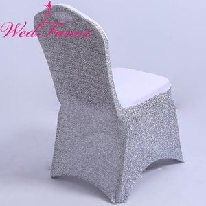 WedFavor 100 pezzi coprisedili in lycra spandex glitter argento coprisedili elastici con paillettes elasticizzati per banchetti dell'hotel