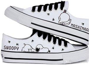 2020 femmes d'été chaud vente de chaussures casual snoopy chaussures de toile peints à la main lapin fripon bas chaussures en toile noire bouche laçage peu profondes femelles