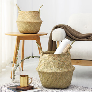 Nouveau ménage paniers de rangement en bambou à la main pliable blanchisserie paille patchwork en osier rotin Seagrass ventre jardin fleur pot planteur panier