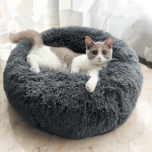 Super Soft Round Cat Sleeping Bag Long Plush Pet Dog Bed Kennel Portable Cat Supplies Winter Warm Mat Pet Accessories
