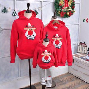 Sıcak Moda Noel Aile Çocuk Anne Baba Hoodie Kazak Kazak Jumper Karikatür Geyik Baskı Tişörtü Tops Giyim Eşleştirme