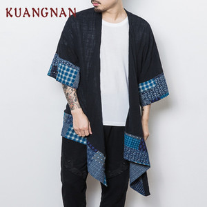 KUANGNAN Chinese Kimono Cardigan Men Long Linen Black Kimono Cardigan Men Streetwear Jacket Coat Thin Windbreaker