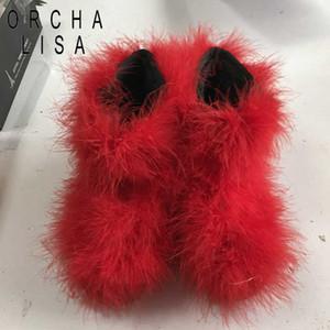 ORCHA LISA Chaussures de mode Femmes Bottes De Neige Véritable Véritable Poilu Plume D'autruche Fourrure Fourrure Fluffy bottes Dames botas mujer