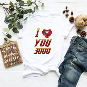 Camisetas Tony Stark Avengers Endgame diseñador mujeres Tops verano moda camisetas papá te amo 3000 impresión