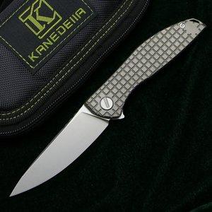 Kanedeiia neón cero cuchillo plegable K110 de hoja de bolsillo de la manija de titanio para acampar al aire libre de la caza de trekking pesca tácticas fruta cuchillos de herramientas EDC