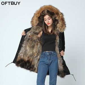 OFTBUY 2019 chaqueta larga de invierno para mujer parkas gruesas mapache natural cuello de piel real abrigo con capucha real cálido forro de piel de zorro Y191205