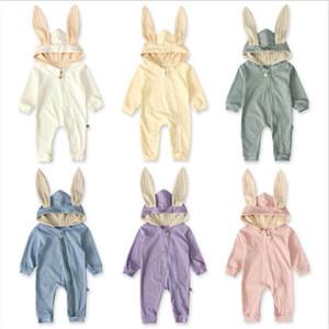 Baby-Strampler Rabbit Ears Jungen Jumpsuits Kinder Designerkleidung Infant Herbst Langarm-Body aus Baumwolle Strampler Overalls Aufstiegskleidung C6678