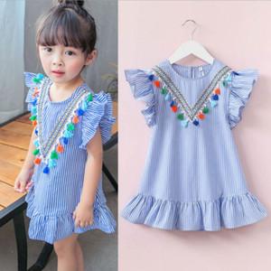Nouvel été bébé filles robe pompon volant manches robes Stripe Mignon enfants robes de soirée pour enfants filles princesse robe Tops vêtements