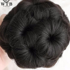 Flores estilo fibra sintética Clip de alta temperatura en extensiones falsas elásticas Bun Donut Chignon para mujeres