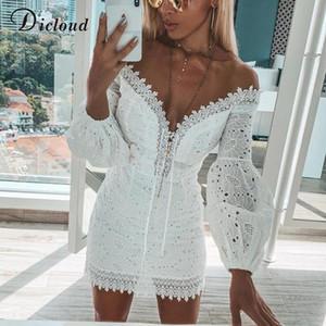 DICLOUD broderie blanche élégante Printemps Eté Bandage Robes Femmes Plage Sexy Robe Encolure courte Parti Wrap Bodycon