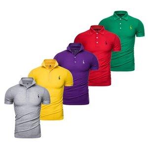 5PCS Set 2020 Summer Giraffe Embroidery Polo Shirt Men Solid Color GRF Brand Quality Mens Polos Social Business Male Tees Shirts