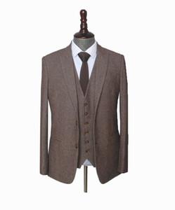 Custom Made Woolen brown Herringbone Tweed men wedding suit British style Mens suit tailored plus size Blazer suit (jacket + pants + vest)
