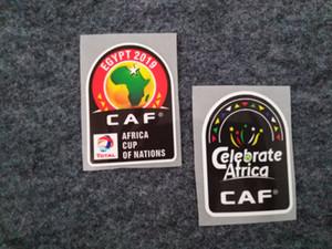 2019 Copa de África de fútbol pegatinas de plástico EYGYT 2019 CAF fútbol Parches buena calidad Focking fútbol parches adhesivos para las mangas de impresión en caliente