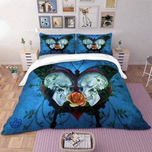 Gótico aumentou borboleta crânio impresso roupas de cama definir rainha tamanhos de solteiro cama Set para edredão Consolador cobrir novas 3pcs