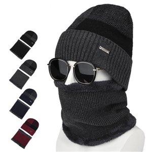 2019 мужчины плюшевые зимние тюбетейки шапочки кольца наборы вентиляция эластичный плед толстая шея ухо теплая мягкая шляпа шарф аксессуары-CGC-W7