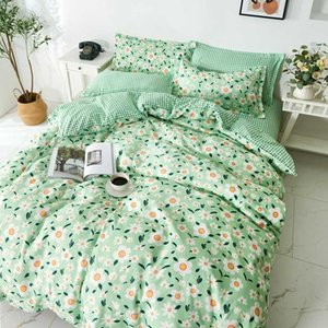 Green Flowers Bedding Set Rural Fresh Style Twin Full Queen King Size Bed Sheets Quilt Cover Soft Bedding Set For Adult Children