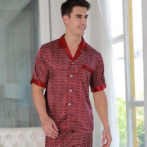 Men's Summer Silk Pajamas Short Sleeve Silk Homewear Sexy Sleepwear Male Sleepwear Men Homewear Sets D-2175