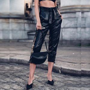 Frauen PU-Leder PantsTrousers Street Verband Hohe Taillen-dünne Capris Kordelzug Gürtel Partei PU Female Pants