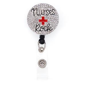 Design personnalisé infirmière ID Roche Nom Badge Holder cristal RN médical Pour le docteur rétractable Reel Badge