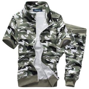 Nuevo patrón del camuflaje del verano de deporte del chándal de manga corta Conjunto Sporting Traje capucha pantalones cortos Set 3XL tendencia