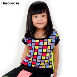 Heroprose 새로운 키즈 성인 힙합 상위 댄스 여성 대조 네온 다채로운 여성 의상 의상 화려한 격자 무늬 티셔츠 Y19051003