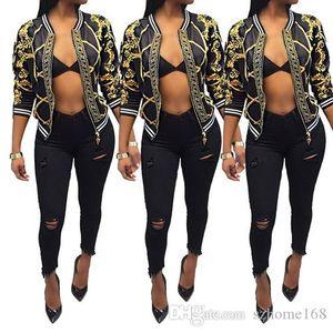 2018 European and American fashion brand design, new autumn dress, digital positioning printing long sleeved jacket, thin coat, ladies'