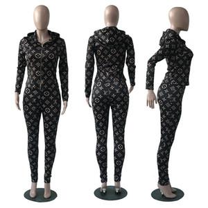 أزياء المرأة رياضية مصمم مجموعة ملابس النسائية طباعة اثنين من قطعة مجموعة 2019 العلامة التجارية جنسي سليم رياضية آسيا الحجم