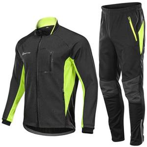 Outto d'hiver en polaire vélo Ensembles pantalons pour hommes Veste thermique vélo bicycle de Ropa Ciclismo Hiver Cyclisme Vêtements de sport